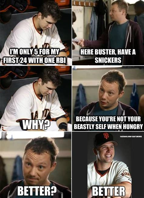 Snickers Meme - snickers buster posey snickers quot hungry quot commercials