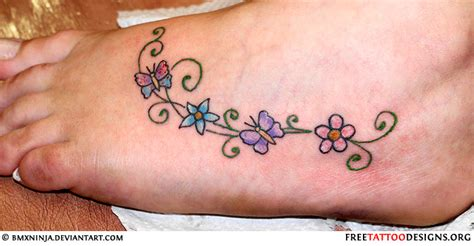 Foot Tattoo Images Designs Flower Foot Tattoos Pictures