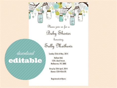 editable templates for baby shower invitations editable baby shower invitations editable bridal shower