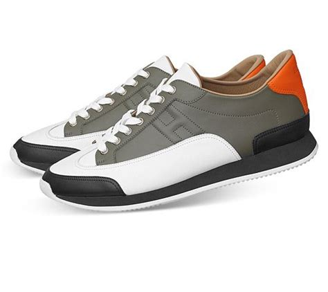 hermes sneakers mens herm 232 s goal sneaker in black white bronze orange calfskin