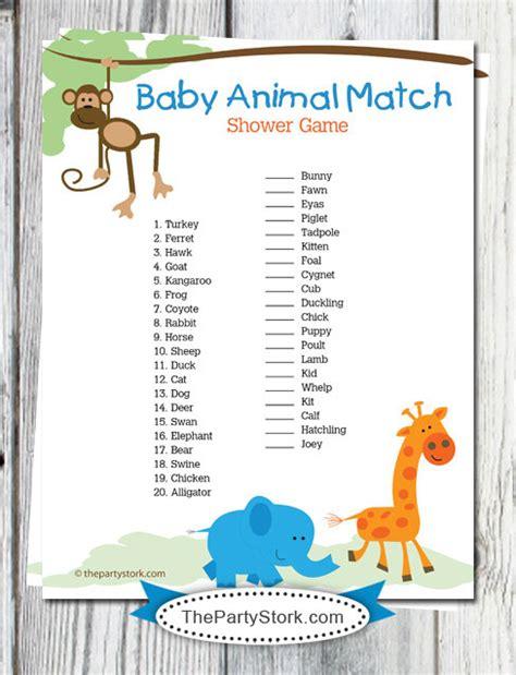 animal baby shower safari baby shower printable baby animal match