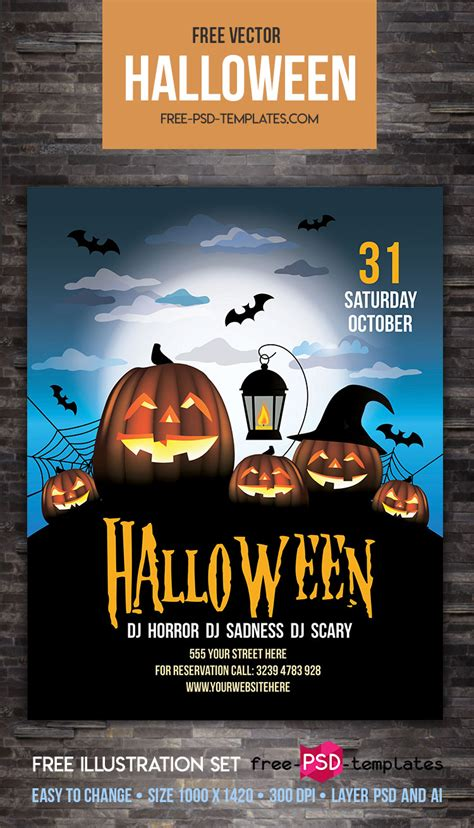 Free Halloween Party Flyer Vector Template Free Psd Templates Flyer Template Psd 2