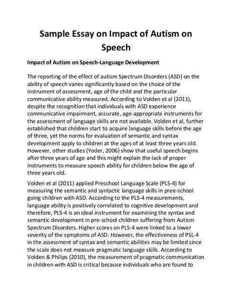 Speech Essays by Sle Essay On Impact Of Autism On Speech
