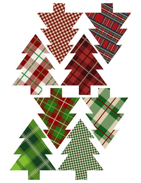 christmas tree decorations printable plaid tree ornaments printable paper trail design