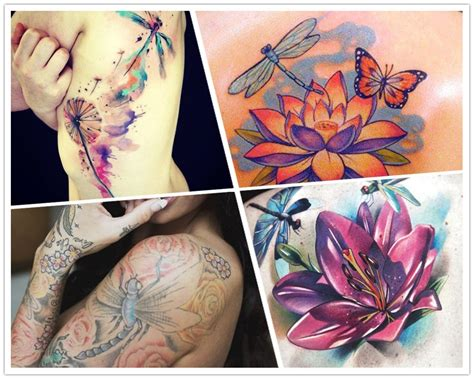 rose and lotus tattoos 2014 awesome flower dragonfly watercolor