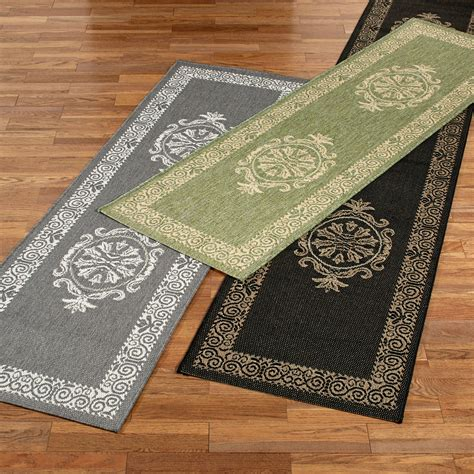 Outdoor Runner Rug with Antique Medallion Indoor Outdoor Rug Runner