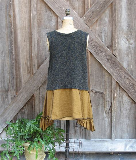 18 Lotus Twotone Blouse Big Size Jumbo Fit L recycled reconstructed upcycled sweater vest and linen tunic