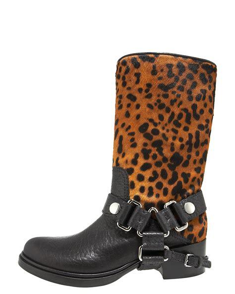 miu miu black leopard print calf hair motorcycle boots in