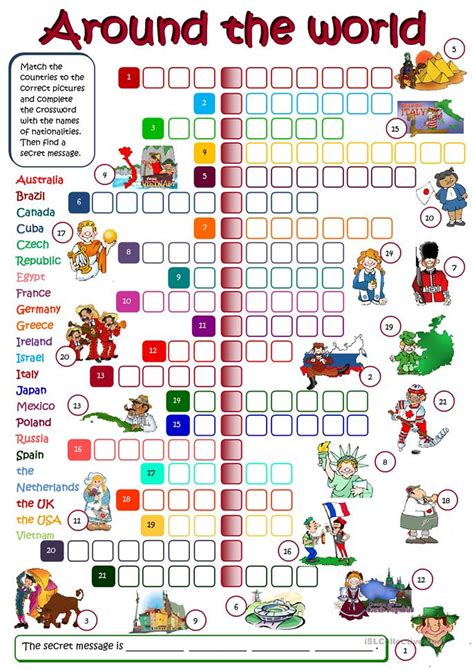 What In The World Worksheets by Around The World Crosssword Worksheet Free Esl