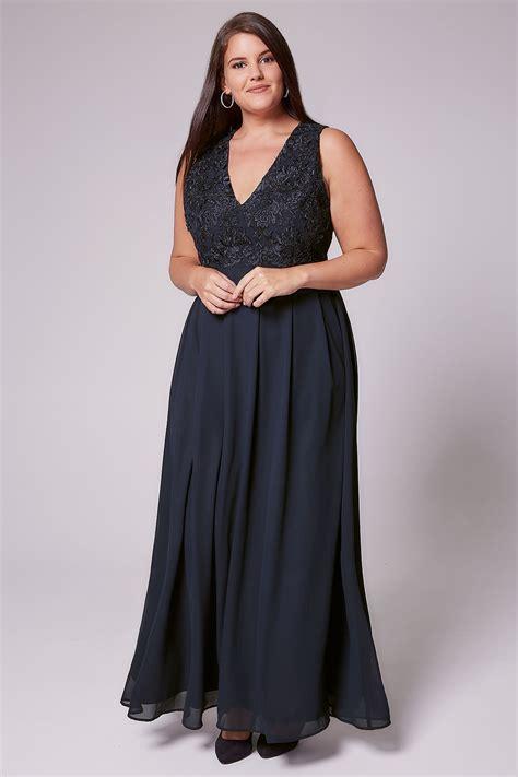 Maxi Navy ax curve navy maxi dress with lace overlay bodice