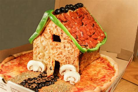 house of pizza gingerbread house made out of pizza posted on thrillist for christmas metro news