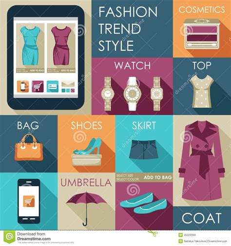 design fashion world app set of flat design fashion iconation stock vector image