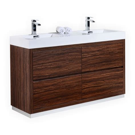 Free Standing Bathroom Sink Vanity by Bliss 60 Quot Sink Walnut Free Standing Modern Bathroom