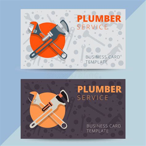 plumber business card template set of professional plumbing service business card