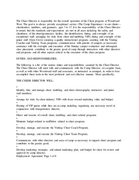 Cheerleading Coach Sle Resume by Resume All