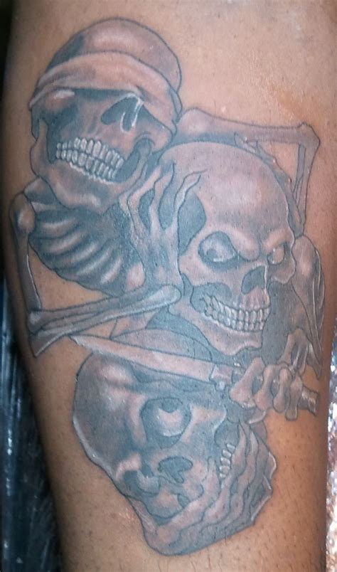 see no evil tattoo see no hear no speak no evil skull arthur