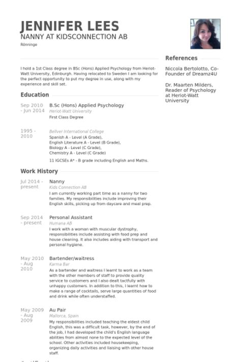 sample resume for nanny canada free resume templates