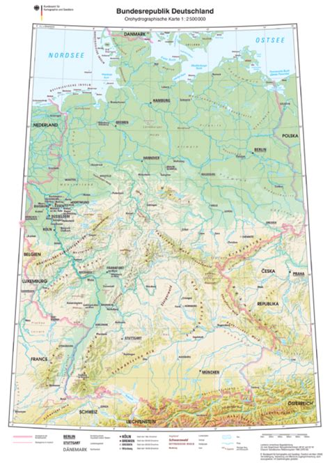 germany physical map physical map of germany 2009