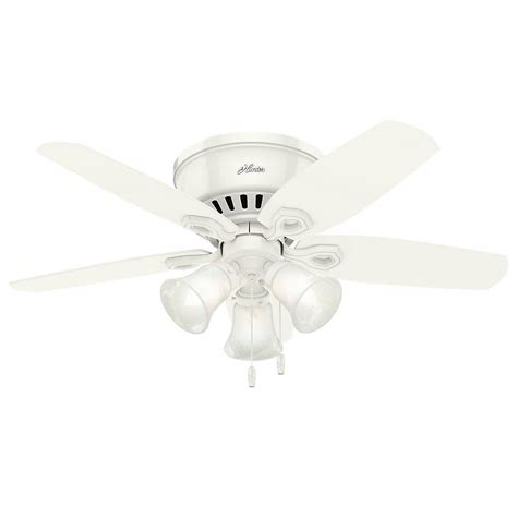 low profile white ceiling fan with light builder low profile 42 in indoor snow white ceiling fan 51090 the home depot