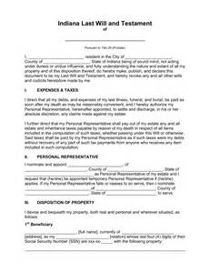 free indiana last will and testament template pdf word
