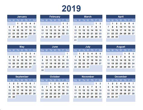 2019 Printable Calendar Templates Free Printable Calendar 2019 Free Calendar 2019 Blank 2019 Calendar Template Excel