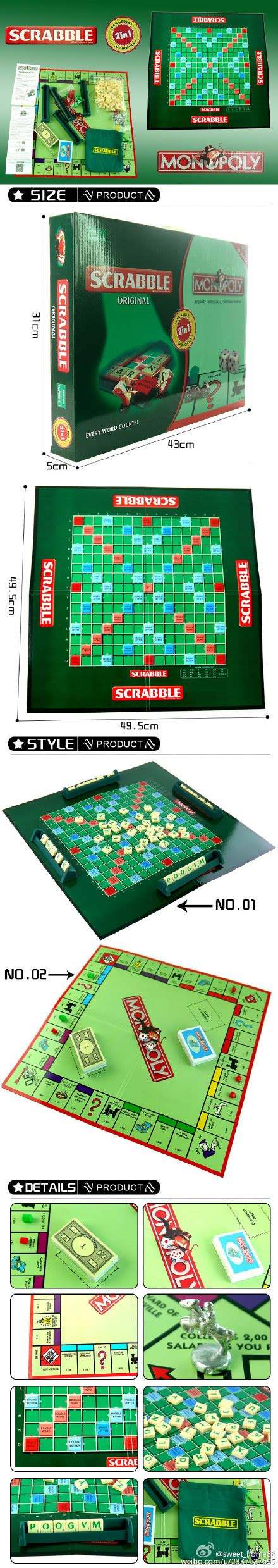2 in 1 scrabble monopoly family board travel children education ebay