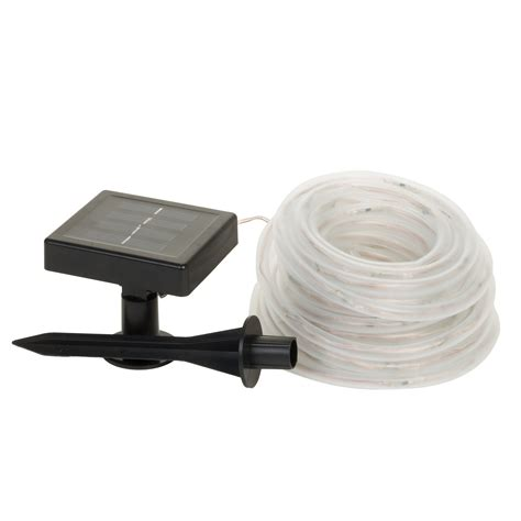 solar powered 100 white led rope outdoor garden