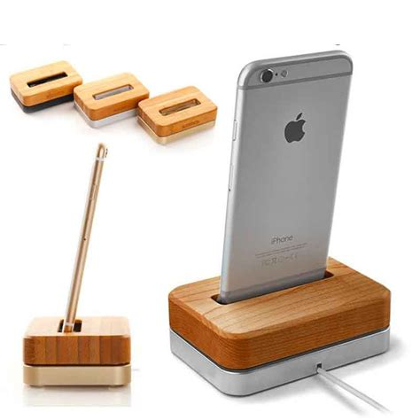 phone charging stand 2015 new fashion wooden aluminum charger tray stand