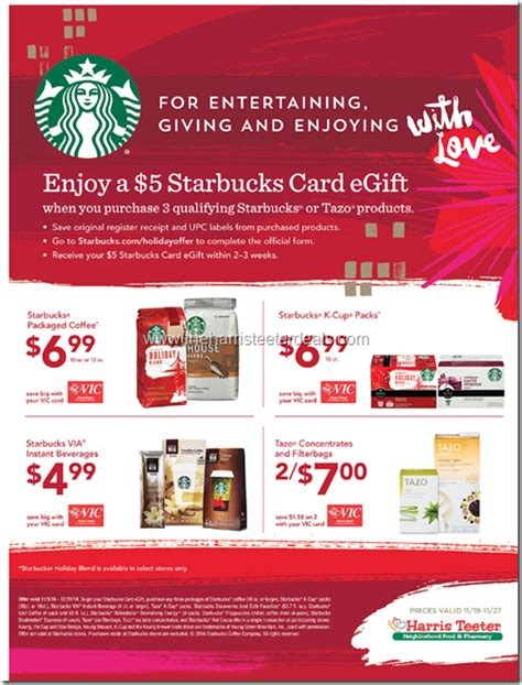Starbucks 5 Gift Card Buy 3 - starbucks promo at harris teeter buy 3 get a 5 gift card the harris teeter deals