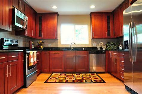 cherry shaker cabinet oak hardwood floor black