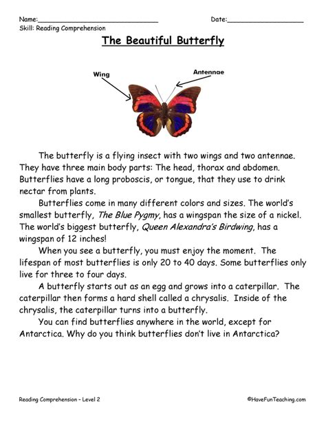 2nd grade reading worksheets butterflies reading comprehension worksheet