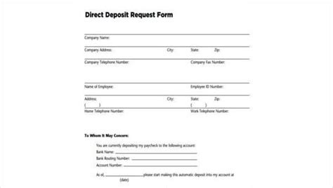 top direct deposit form template word free template 2018