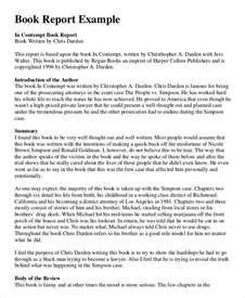 Book Report Examples Book Report Template Example