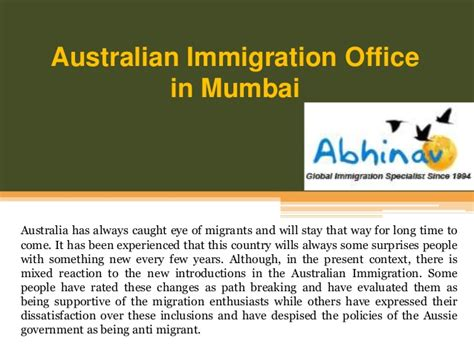 australian immigration office in mumbai