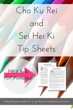 cho  rei  sei hei ki tip sheets reiki printables