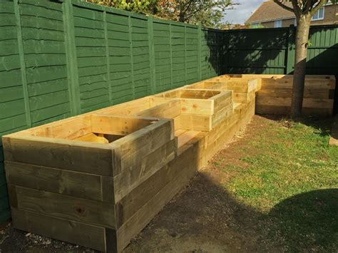 railway sleeper garden bench les mable s raised beds with bench seats from new railway