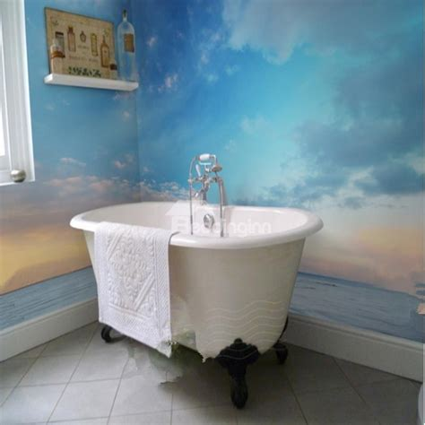 bathroom wall murals amazing sunset sky and sea scenery pattern waterproof 3d bathroom wall murals
