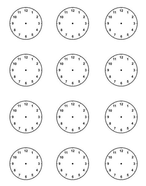 printable clock schedule blank clock faces for picture schedule kids educational