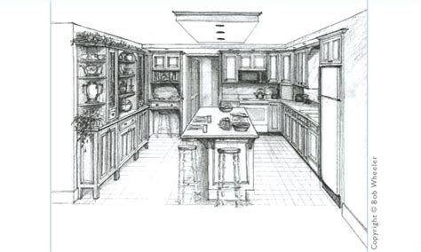 Residential Plans Kitchen Perspective Drawing By Kitchenplans
