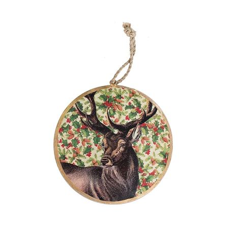 vintage deer tin disk christmas ornament cf enterprises