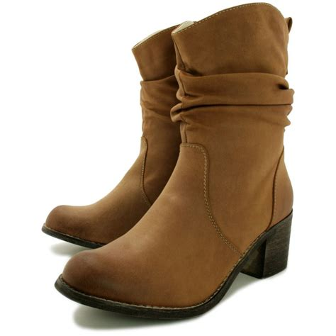 buy mars block heel western ankle boots leather style
