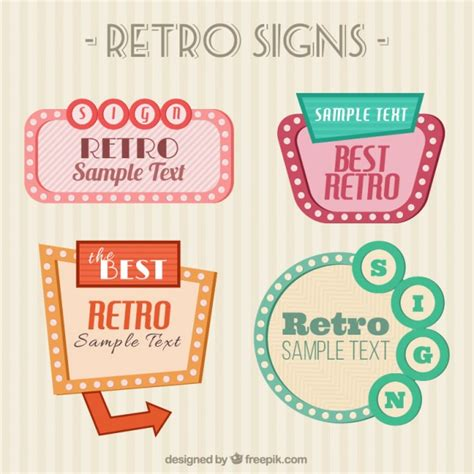 retro signs pack vector premium download
