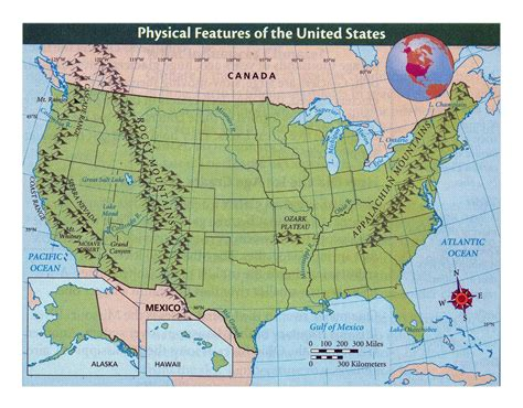 united states map in detail detailed physical features map of the united states usa