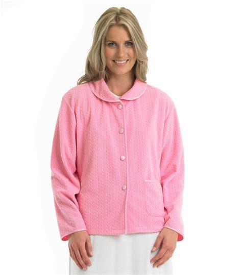 Sm Parka Piter Pink bed jacket womens pan collar slenderella fleecy cable pattern nightwear ebay