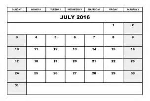 Landscape Calendar Template by July 2016 Calendar Landscape Printable Calendar Templates