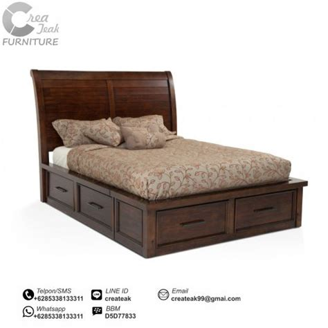 Ranjang Kasur Dari Kayu dipan minimalis jati 6 laci createak furniture createak furniture