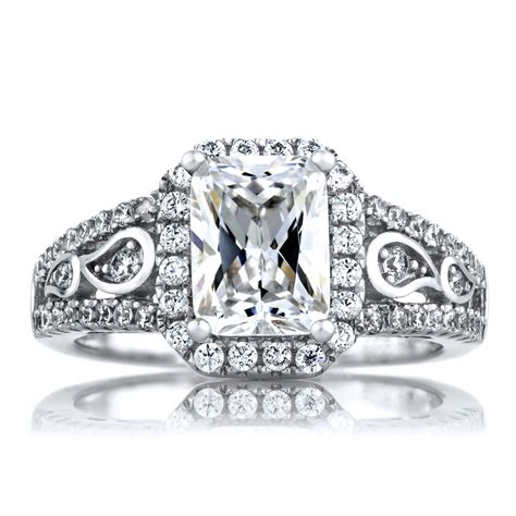pavi s 1 74ct deco style emerald cut cz engagement ring