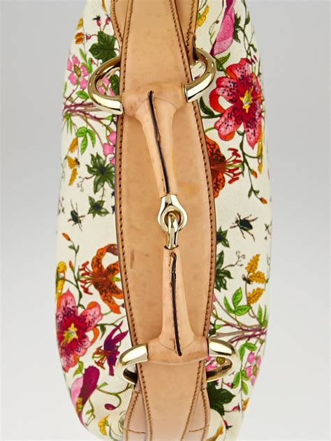 Gucci Hobo Flower 17603 1 gucci floral canvas horsebit chain medium hobo bag handbags 10077452
