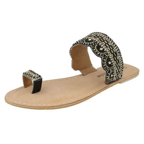 sandals with toe loop spot on slip on toe loop beaded flip flop sandals