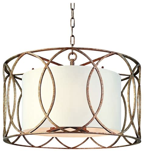New 25 Quot Gold Metal Sausalito 25 Quot Wide Silver Gold Pendant Light